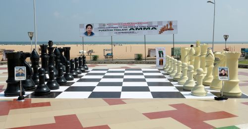 A chess board at Marina Beach