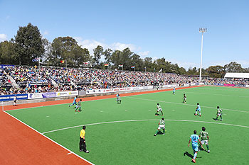 A general view of action from a hockey match between India and Pakistan