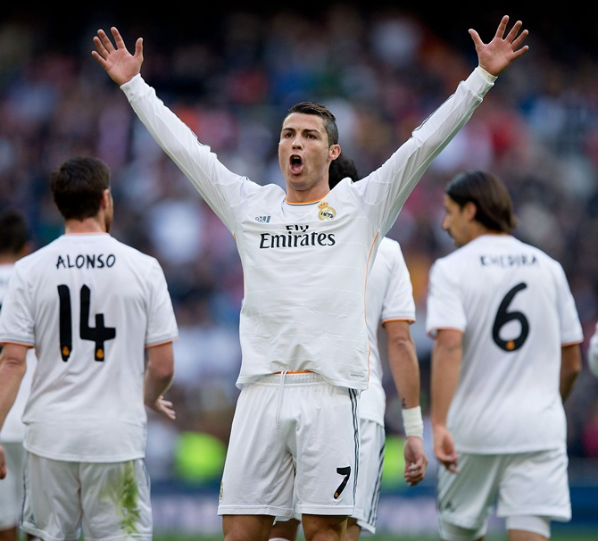 Cristiano Ronaldo of Real Madrid CF celebrates scoring their opening goal