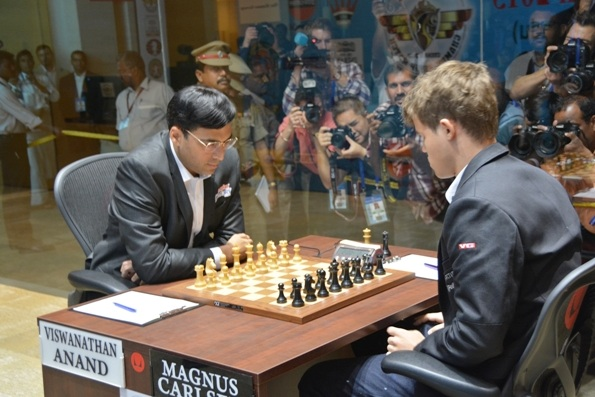 Magnus Carlsen (right) with Viswanathan Anand