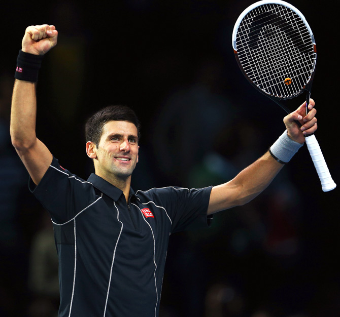 Novak Djokovic of Serbia celebrates victory