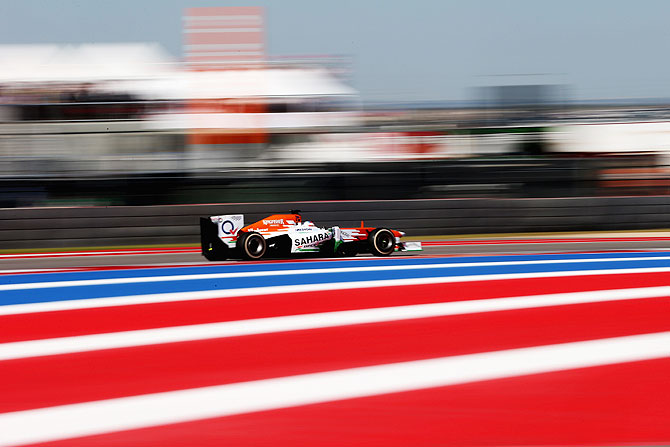 Paul di Resta of Great Britain and Force India drives during the United States Formula One Grand Prix at Circuit of The Americas in Austin, Texas, on Sunday