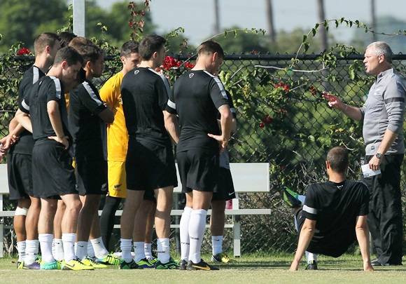 New Zealand Manager Ricki Herbert speaks to embers of his team during their training session