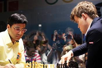 Anand and Carlsen during Game 9