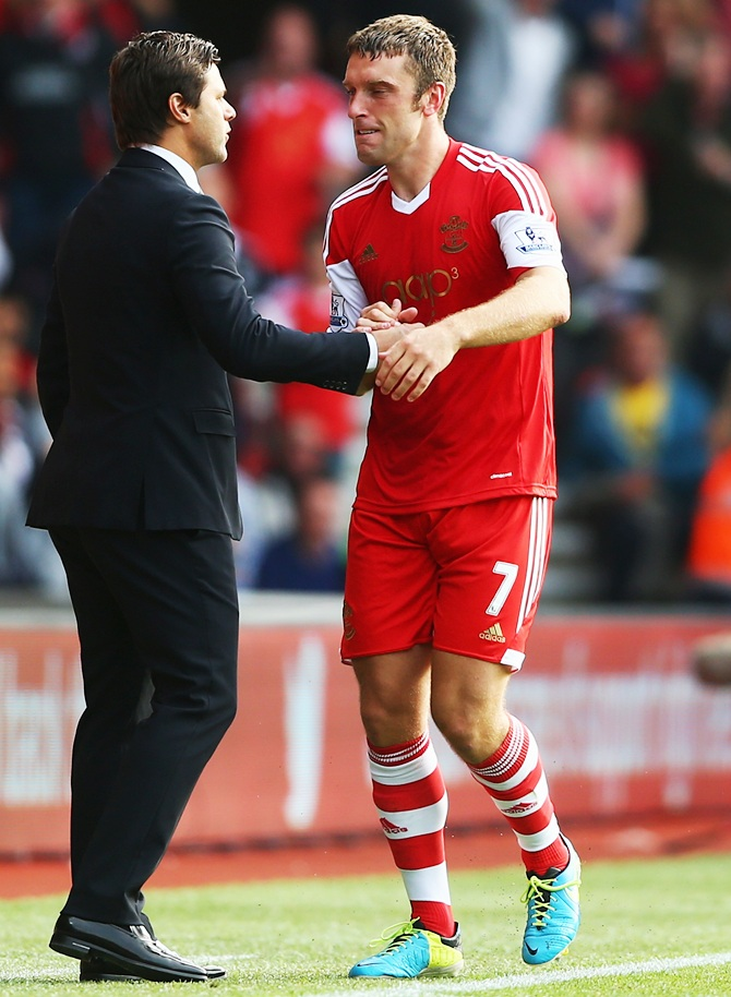 Rickie Lambert (right) of Southampton with his manager Mauricio Pochettino