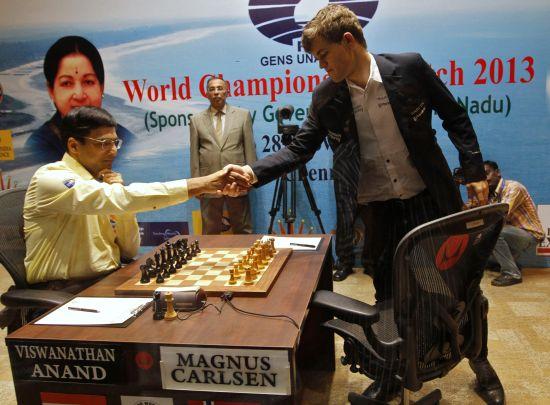 Magnus Carlsen and Viswanathan Anand