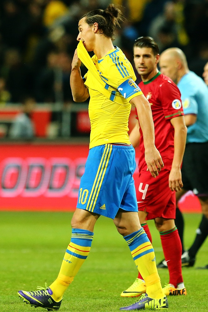 Zlatan Ibrahimovic of Sweden reacts