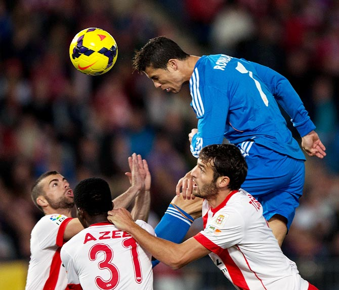 Real Madrid's Cristiano Ronaldo in action against Almeria