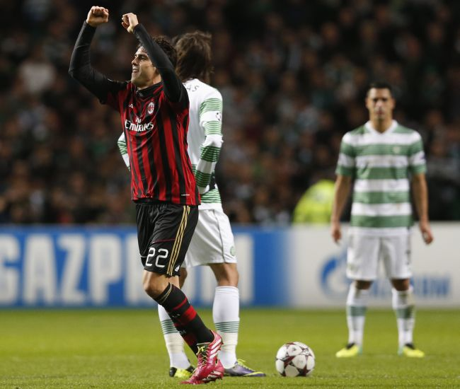 AC Milan's Kaka celebrates his goal against Celtic during their Champions League soccer match
