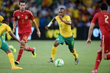 Bernard Parker of South Africa attacks during the International friendly match between South Africa and Spain at Soccer City Stadium