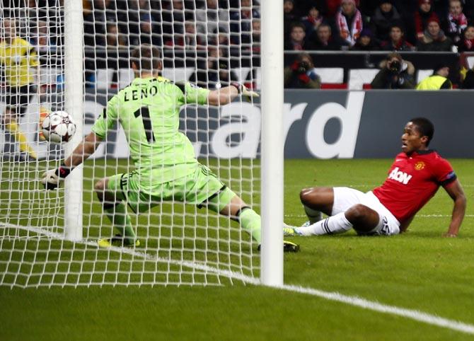 Manchester United's Antonio Valencia scores a goal past Bayer Leverkusen goalkeeper Bernd Leno