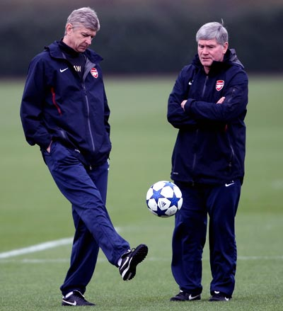 Arsenal manager Arsene Wenger (left) with Pat Rice