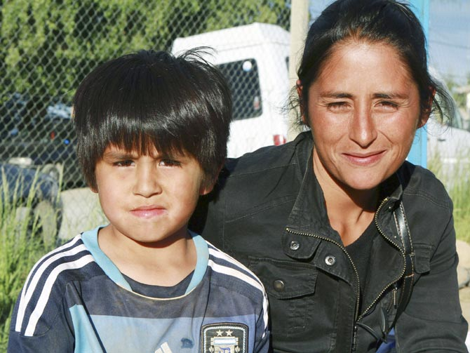 Claudio Nancufil with his mother Viviana