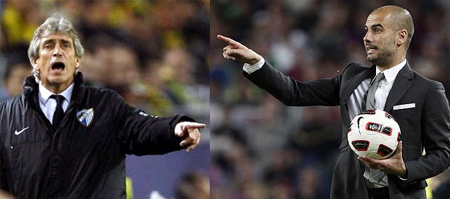 Manuel Pellegrini and Pep Guardiola (right)