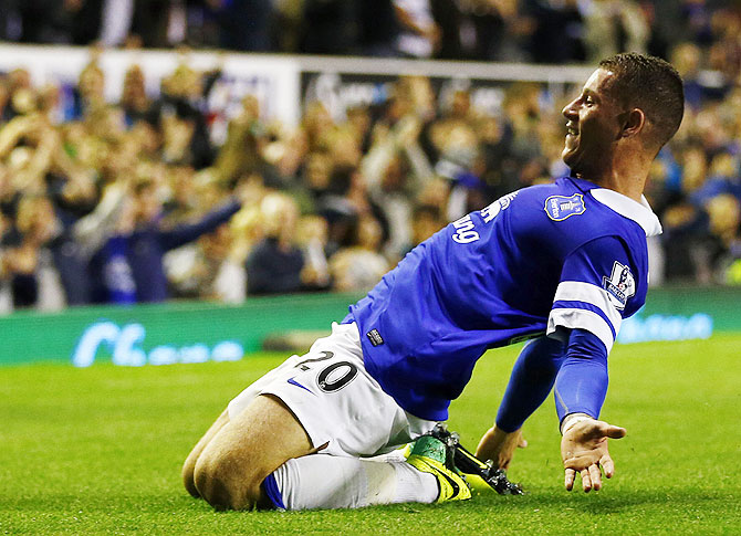Everton's Ross Barkley celebrates his goal against Newcastle United during their English Premier League match at Goodison Park on Monday