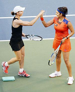 Sania Mirza (right) and Cara Black