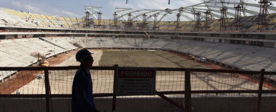 A view of the construction of the Arena da Amazonas Stadium in the heart of Brazil's Amazon rainforest in Manaus