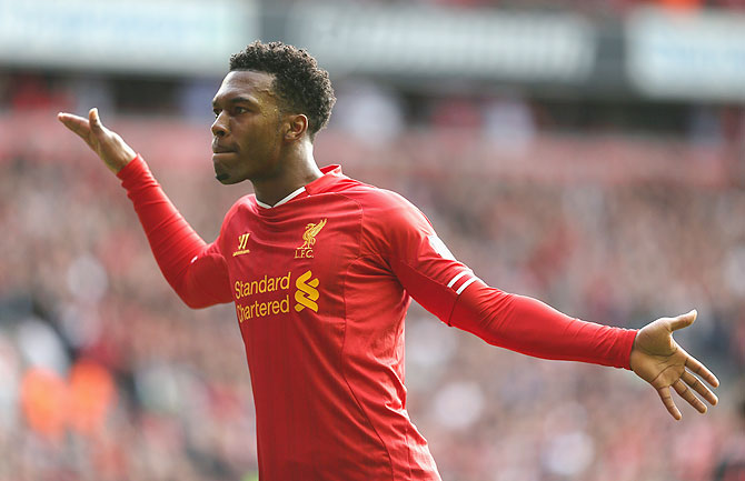 Daniel Sturridge of Liverpool celebrates after scoring the second goal during against Crystal Palace during their English Premier League match at Anfield in Liverpool on Saturday
