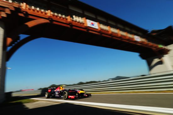 Mark Webber of Australia and Infiniti Red Bull Racing drives during practice for the Korean Formula One Grand Prix