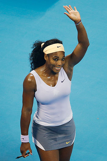 Serena Williams of the United States celebrates winning against Agnieszka Radwanska of Poland on Saturday
