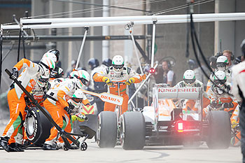 Paul di Resta of Great Britain and Force India stops for a pitstop during the Korean Formula One Grand Prix at Korea International Circuit in Yeongam-gun, on Sunday