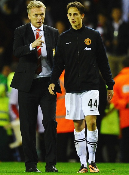David Moyes of Manchester United talks with Adnan Januzaj
