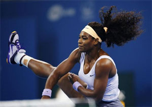 Serena Williams in action during the China Open final
