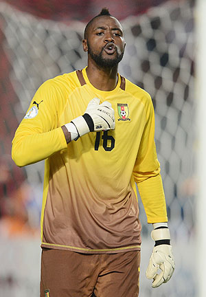 Charles Itandje of Cameroon in action during the FIFA 2014 World Cup qualifier at the Stade Olympique de Radès on October 13, 2013 in Rades, Tunisia