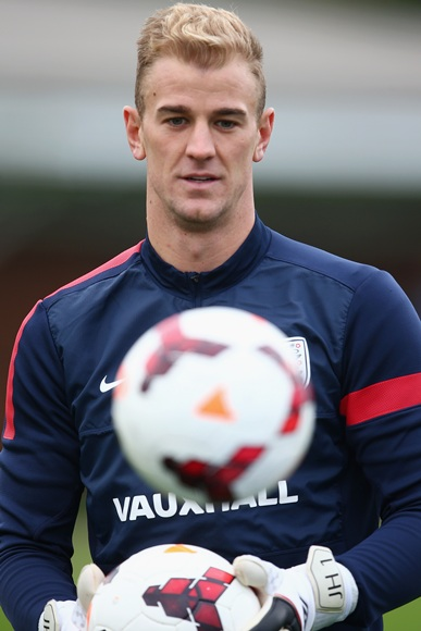 Joe Hart of England in action during an England Training session