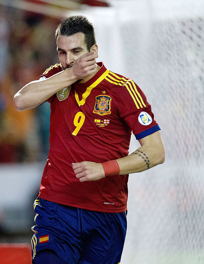 Alvaro Negredo of Spain celebrates scoring the opening goal during the FIFA 2014 World Cup Qualifier match between agianst Georgia at Carlos Belmonte stadium in Albacete, on Tuesday