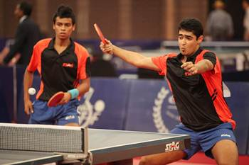 ndia A's Sudhanshu Grover and Abhishek Yadav who won the junior boys crown