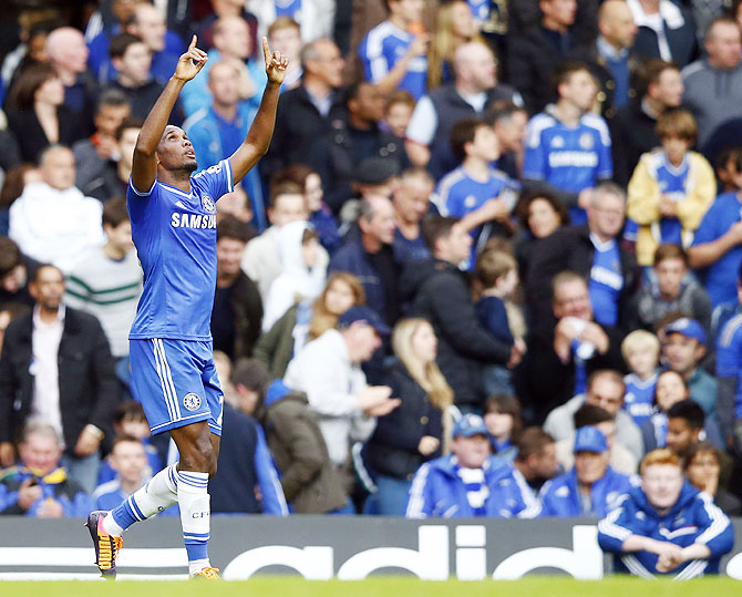 Chelsea's Samuel Eto'o celebrates scoring against Cardiff City at Stamford Bridge on Saturday