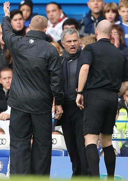 Chelsea manager Jose Mourinho is sent off by referee Anthony T