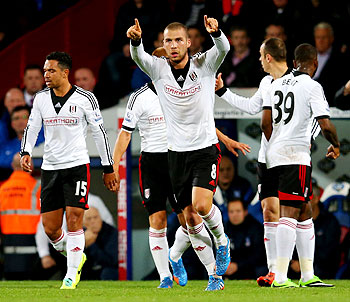 Pajtim Kasami of Fulham celebrates after scoring a goal against Crystal Palace during their English Premier League match at Selhurst Park in London on Monday