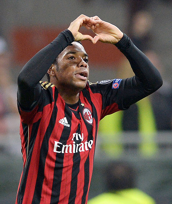 Robinho of AC Milan celebrates scoring against Barcelona during their UEFA Champions League Group H match at Stadio Giuseppe Meazza in Milan on Tuesday