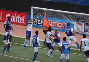 Action in the I-League match between Bengaluru FC and Dempo