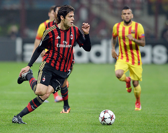Kaka of AC Milan in action during the UEFA Champions League Group H match between AC Milan and Barcelona at Stadio Giuseppe Meazza on Tuesday