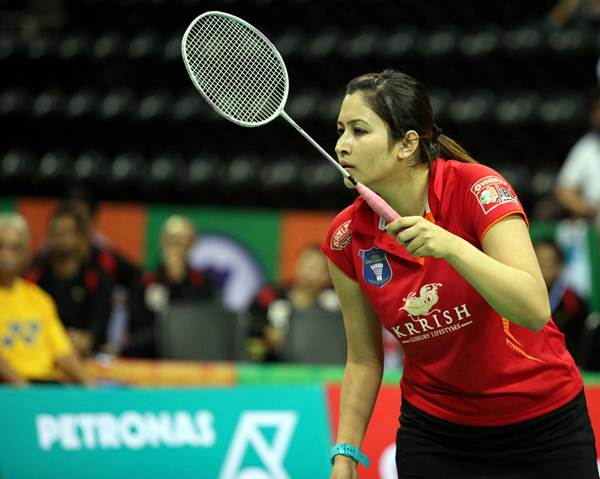 Jwala Gutta in action during the Indian Badminton League