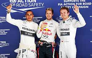 Hamilton, Vettel and Rosberg after qualifying on Saturday