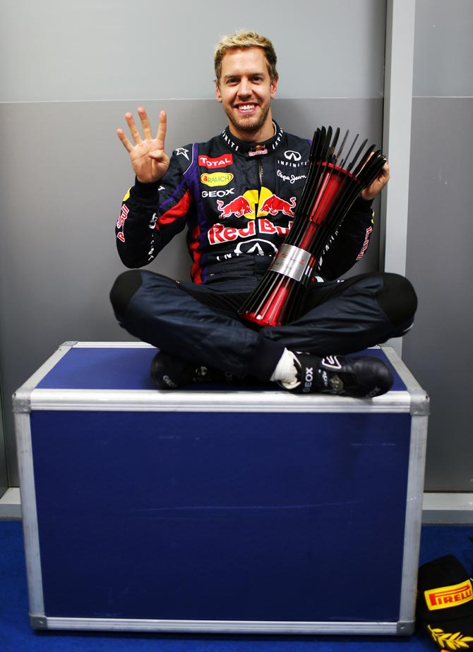 Sebastian Vettel celebrates after winning the Indian Grand Prix
