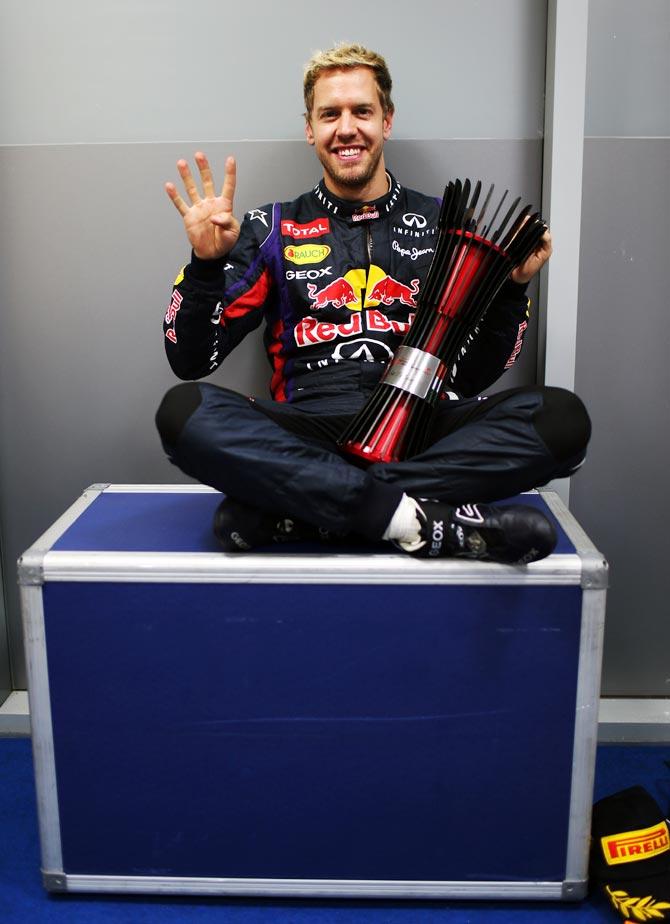 Sebastian Vettel celebrates after winning the Indian Grand Prix