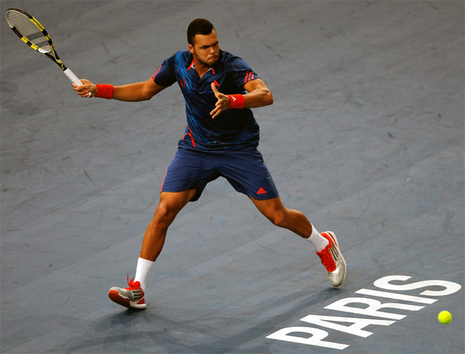 Jo-Wilfried Tsonga of France in action