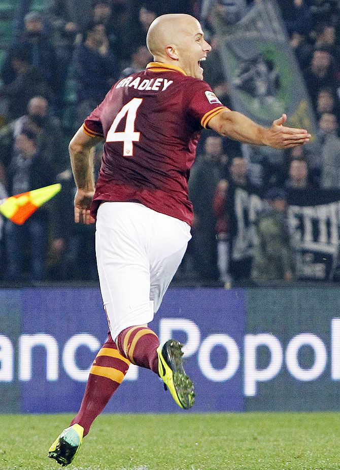 AS Roma's Michael Bradley celebrates after scoring against Udinese during their Serie A match at the Friuli stadium in Udine on Sunday