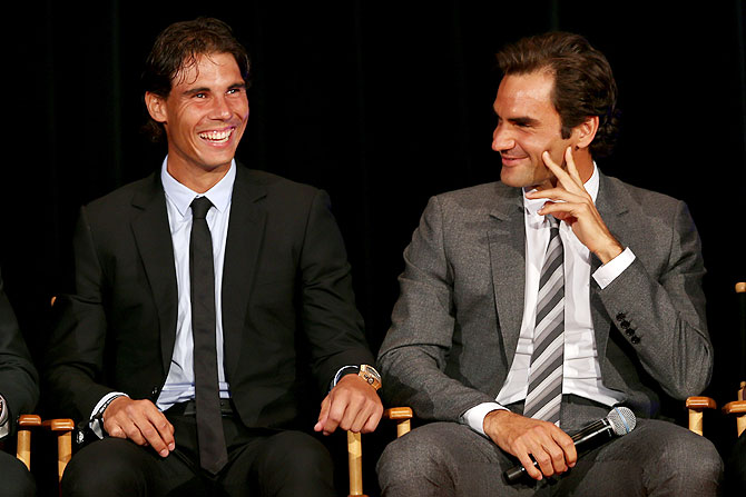 Rafael Nadal of Spain and Roger Federer of Switzerland