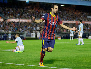 Cesc Fabregas of FC Barcelona celebrates scoring agaisnt Celta Vigo during their La Liga match at Estadio Balaidos in Vigo on Tuesday