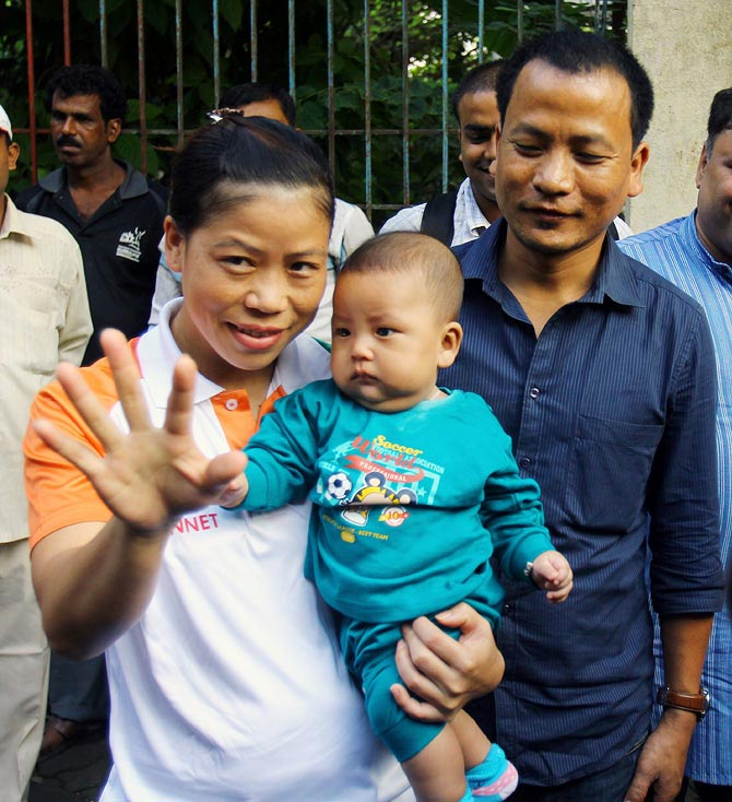 MC Mary Kom with her son Prince Chungthanglen Kom and husband Onler
