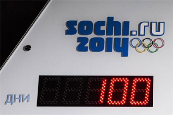 A digital display marks 100 days left to the start of the 2014 Winter Olympics