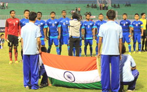 The Indian football team during the national anthem before the SAFF Cup opener against Pakistan on Sunday