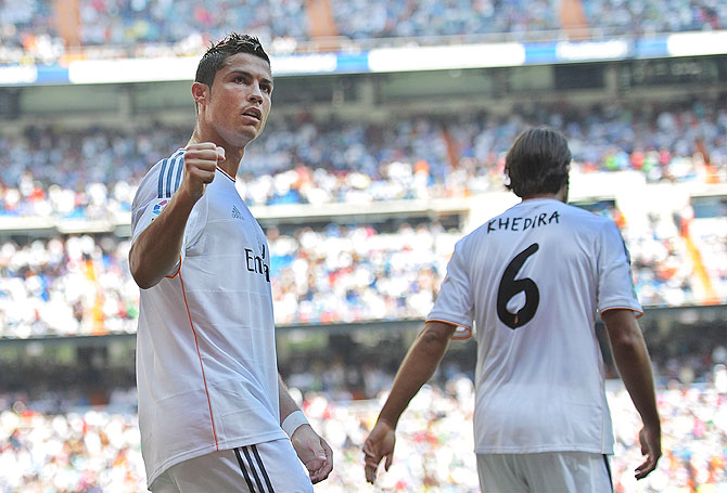 Cristiano Ronaldo of Real Madrid celebrates after scoring Real's 2nd goal on Saturday