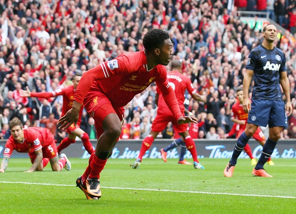 Daniel Sturridge of Liverpool celebrates scoring the opening goal